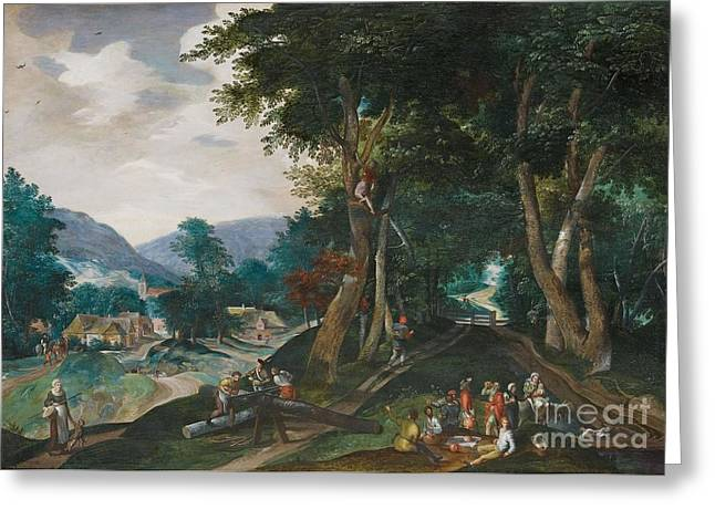 Flemish School; (17th Century) Greeting Cards - Landscape With Woodcutter Greeting Card by MotionAge Designs