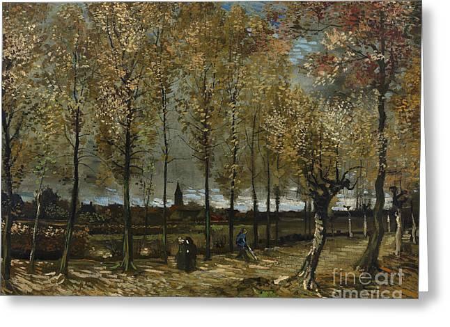 Vintage Painter Greeting Cards - Lane with Poplars Greeting Card by Van Gogh