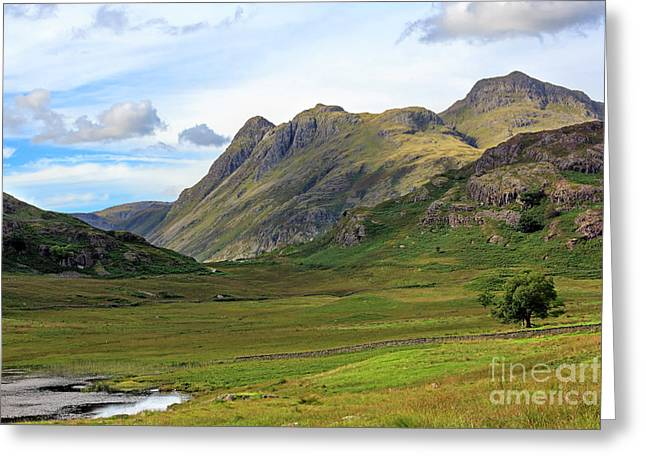 Langdale Pikes From Blea Tarn In The Lake District Greeting Card by Louise Heusinkveld