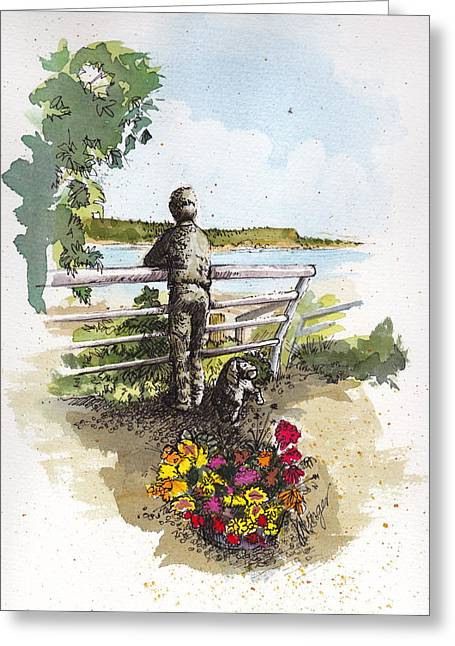 Wa Paintings Greeting Cards - Langley Boy and Dog Greeting Card by Judi Nyerges