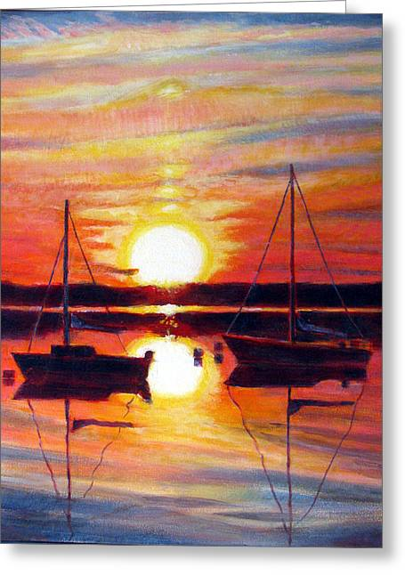 Just Right Greeting Cards - Languid Sunset Greeting Card by Michael Gaudet