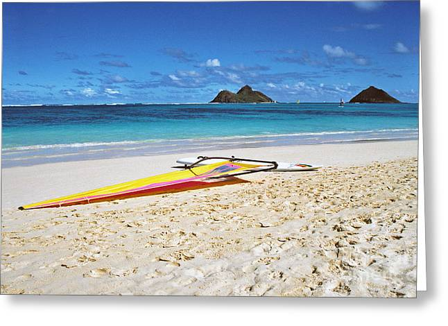 Windsurfer Greeting Cards - Lanikai Beach Oahu Greeting Card by Thomas R Fletcher