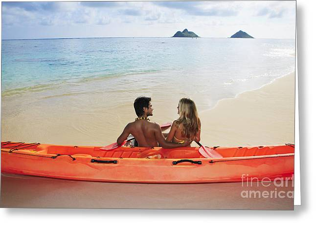 Multi-ethnic Greeting Cards - Lanikai Couple and Kayak Greeting Card by Tomas del Amo - Printscapes