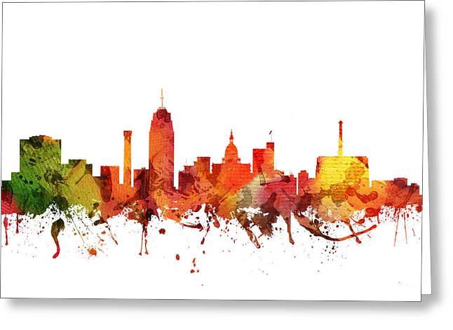 Michigan Drawings Greeting Cards - Lansing Cityscape 04 Greeting Card by Aged Pixel