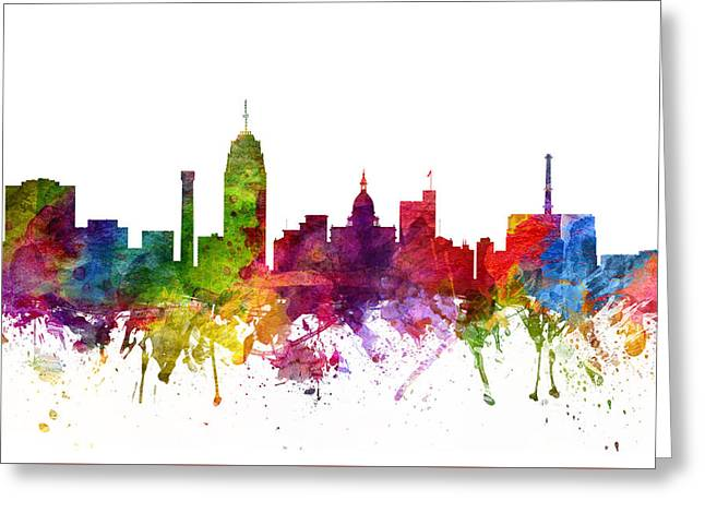 Michigan Drawings Greeting Cards - Lansing Cityscape 06 Greeting Card by Aged Pixel