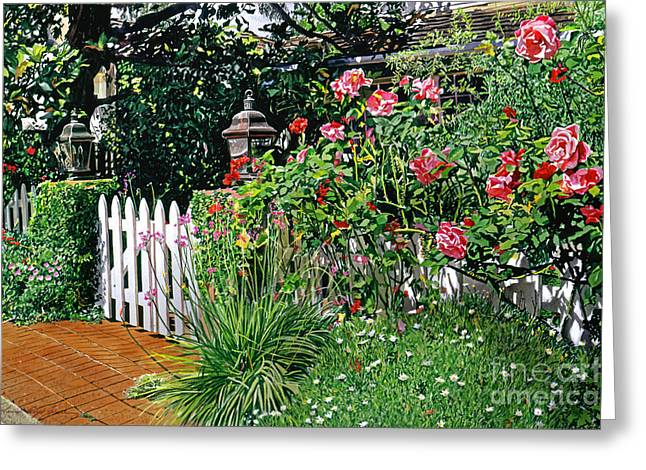 Patio Decor Greeting Cards - Lantern Gate Greeting Card by David Lloyd Glover