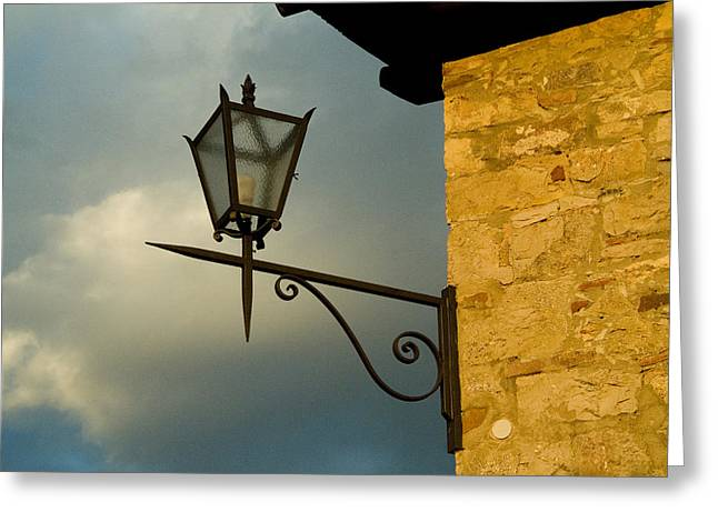 Chianti Greeting Cards - Lantern On The Corner Of A Tuscan Villa Greeting Card by Todd Gipstein