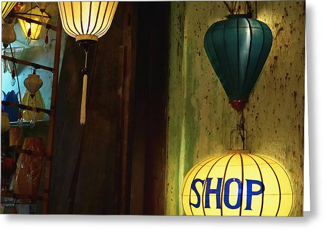 Cluttered Greeting Cards - Lanterns at a Gift Shop Entrance Greeting Card by Skip Nall