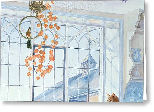 Interior Still Life Paintings Greeting Cards - Lanterns Greeting Card by Timothy Easton