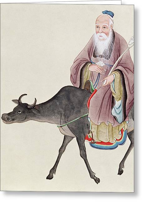 Taoism Greeting Cards - Lao Tzu on his buffalo Greeting Card by Chinese School