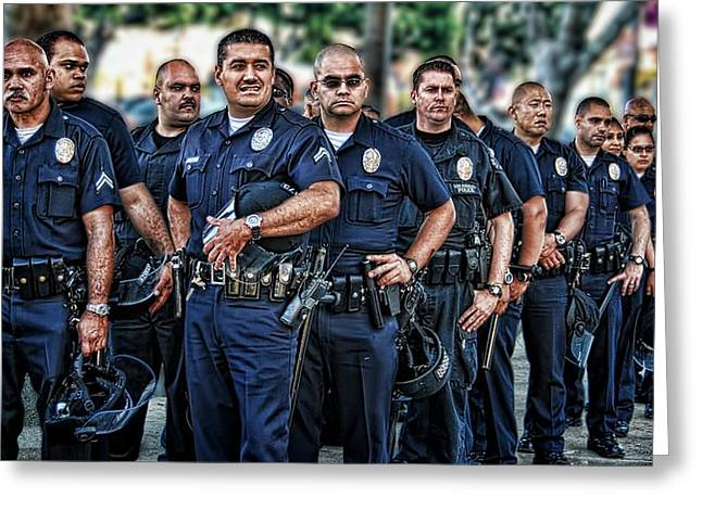 Staples Center Greeting Cards - LAPD Safeguarding Lives Greeting Card by Chris Yarzab