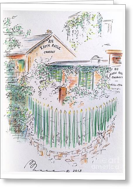 Overgrown Drawings Greeting Cards - Lapin Agile Greeting Card by Barbara Chase