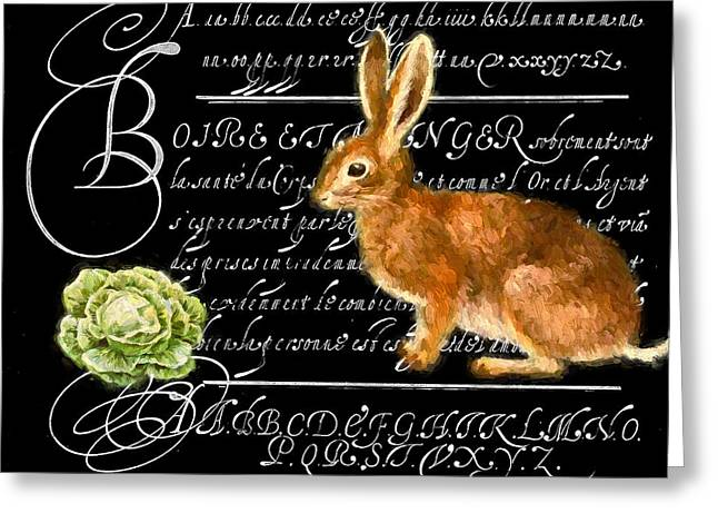 Lettuce Mixed Media Greeting Cards - Lapin et la Laitue Greeting Card by John K Woodruff