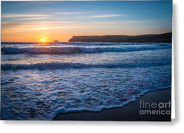 Lapping Waves At Sunset Greeting Card by Amanda Elwell