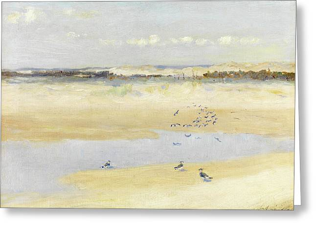 Lapwings By The Sea Greeting Card by William James Laidlay