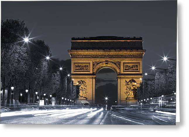 Champs Greeting Cards - Larc de triomphe by night Greeting Card by Simon Kayne