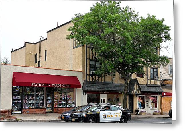 Ny Police Department Greeting Cards - Larchmont Police on Patrol Greeting Card by Kurt Von Dietsch