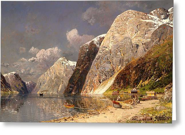 Canoe Greeting Cards - Large Fjords Greeting Card by Karl Kaufmann