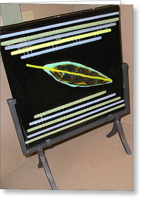 Large Fused Glass Square Greeting Card by Diane Jacobson