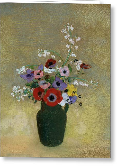 20th Pastels Greeting Cards - Large Green Vase with Mixed Flowers Greeting Card by Odilon Redon