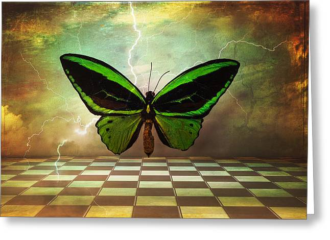 Checkerboard Floor Greeting Cards - Large Green Wings Greeting Card by Garry Gay