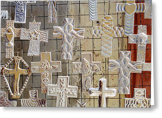 Large Group Of Crucifixes, San Miguel Greeting Card by Panoramic Images