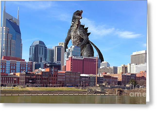 Tennessee River Mixed Media Greeting Cards - Large Lizard Seen In Nashville Tennessee Greeting Card by Garland Johnson
