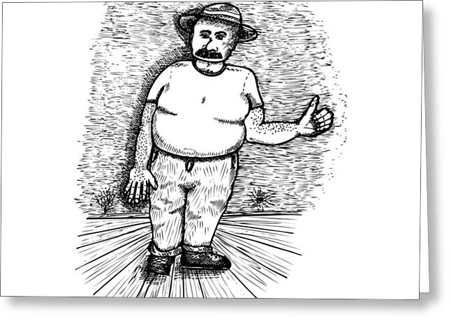 Bad Drawing Greeting Cards - Large Man Greeting Card by Karl Addison