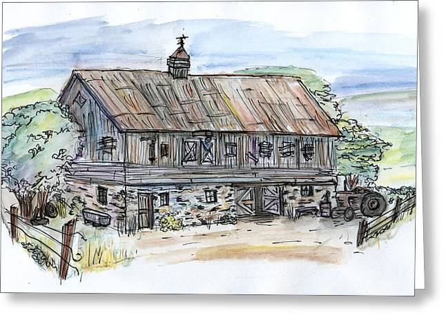 Old Barn Drawing Greeting Cards - Large Old Barn Greeting Card by Albert Calzetta