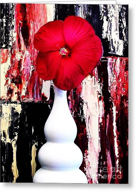 Flower Still Life Prints Digital Art Greeting Cards - Large Red Hibiscus Greeting Card by Marsha Heiken