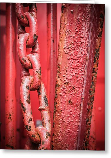 Industrial Concept Greeting Cards - Large rusted metal chain Greeting Card by Nelson Charette