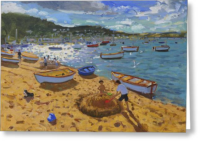 Sailboat Art Greeting Cards - Large sandcastle Teignmouth Greeting Card by Andrew Macara