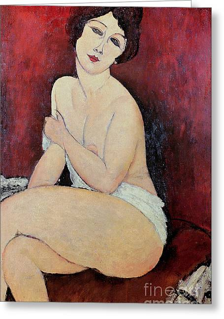 Dressing Greeting Cards - Large Seated Nude Greeting Card by Amedeo Modigliani