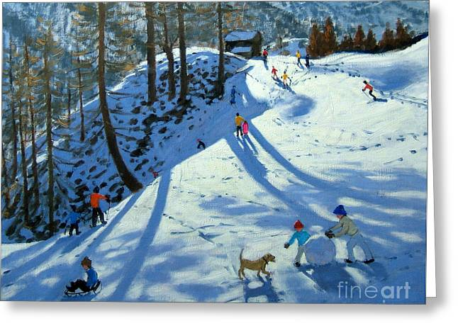 Winter Fun Paintings Greeting Cards - Large Snowball Zermatt Greeting Card by Andrew Macara