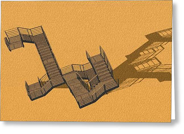 Large Stair 36 Long Long Shadow On Orange Background Greeting Card by Pablo Franchi