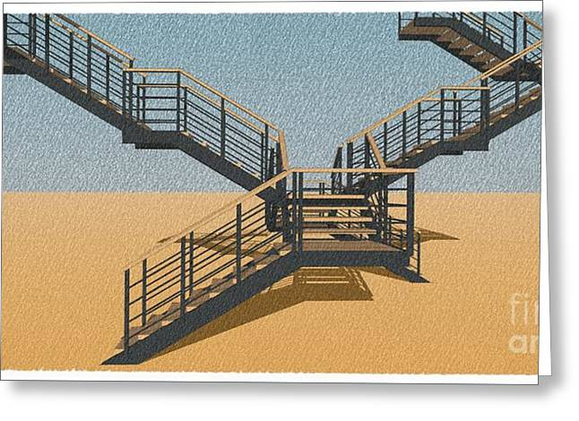 Large Stair 37 On Orange Background Abstract Arhitecture Greeting Card by Pablo Franchi