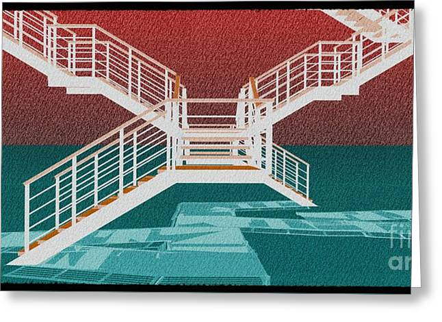 Large Stair 39 On Red Background Abstract Arhitecture Greeting Card by Pablo Franchi