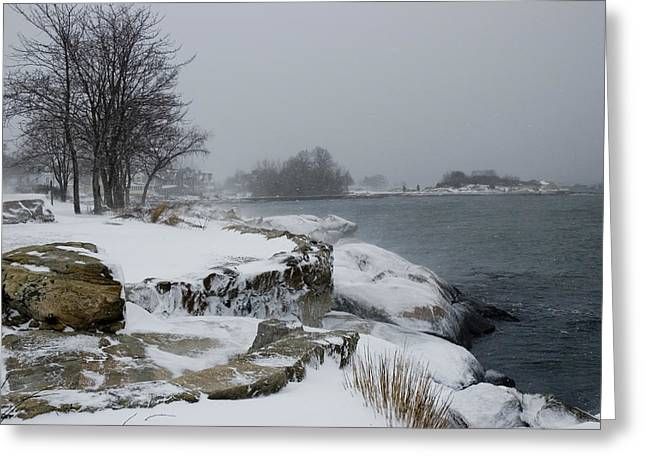 Groton Greeting Cards - Large Stones Covered With Snow Greeting Card by Todd Gipstein