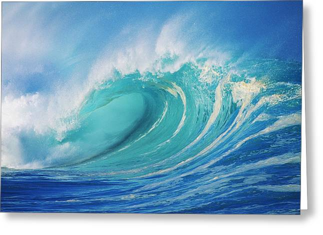 Turbulent Skies Photographs Greeting Cards - Large Wave Curling Greeting Card by Ron Dahlquist - Printscapes