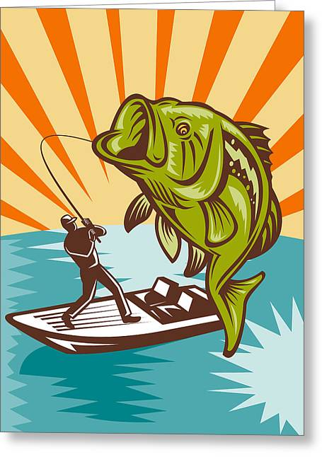 Lakes Digital Greeting Cards - Largemouth Bass Fish and Fly Fisherman Greeting Card by Aloysius Patrimonio