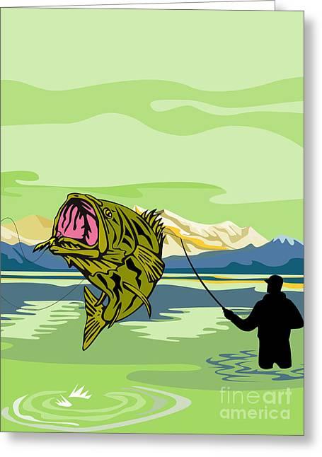 Largemouth Digital Art Greeting Cards - Largemouth Bass Fish jumping Greeting Card by Aloysius Patrimonio
