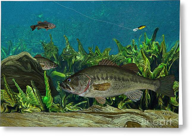 Bass Paintings Greeting Cards - Largemouth Bass Greeting Card by Ralph Martens