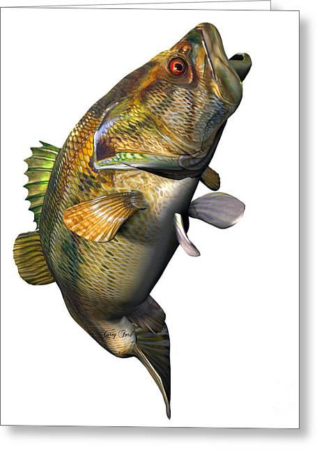 Largemouth Digital Art Greeting Cards - Largemouth Bass Strike Greeting Card by Corey Ford