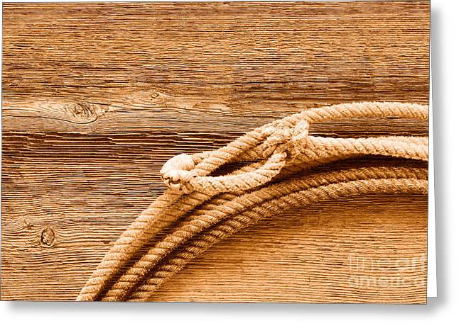 Lariat On Wood - Sepia Greeting Card by Olivier Le Queinec