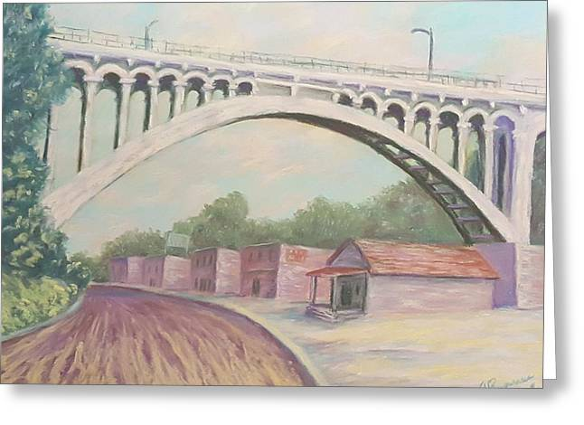 Urban Buildings Pastels Greeting Cards - Larimer Ave Bridge Pittsburgh Greeting Card by Joann Renner