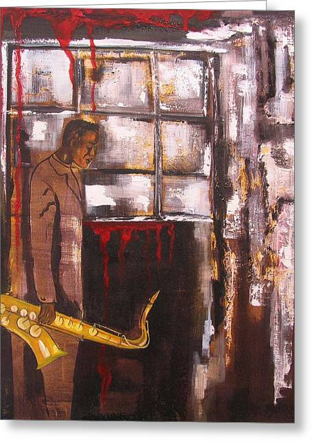 Figuratif Greeting Cards - Larmes Du Jazz Greeting Card by Cathy Belleville