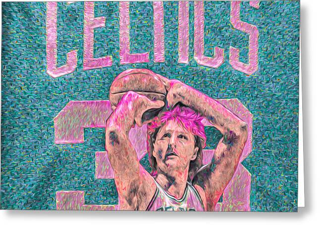 Larry Bird Boston Celtics Digital Painting Pink Greeting Card by David Haskett