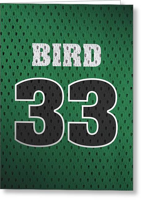 Larry Bird Boston Celtics Retro Vintage Jersey Closeup Graphic Design Greeting Card by Design Turnpike