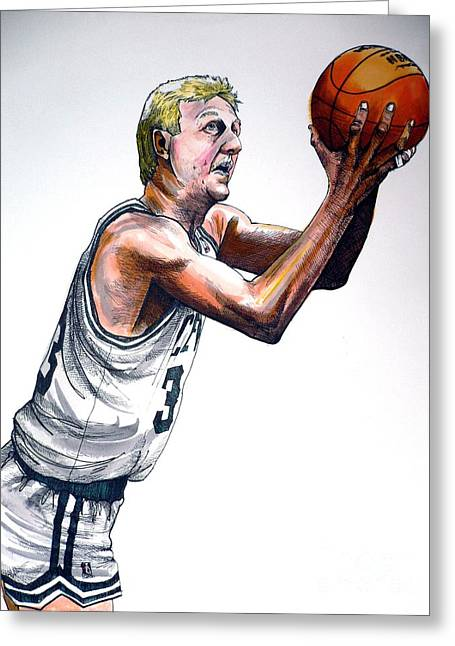 Boston Celtics Drawings Greeting Cards - Larry Bird Greeting Card by Dave Olsen