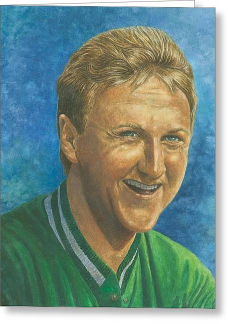 Celtics Basketball Greeting Cards - Larry Bird Greeting Card by Robert Casilla